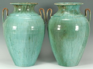 Lot 246: Large Pr. of Chinese Glaze NC Pottery Urns