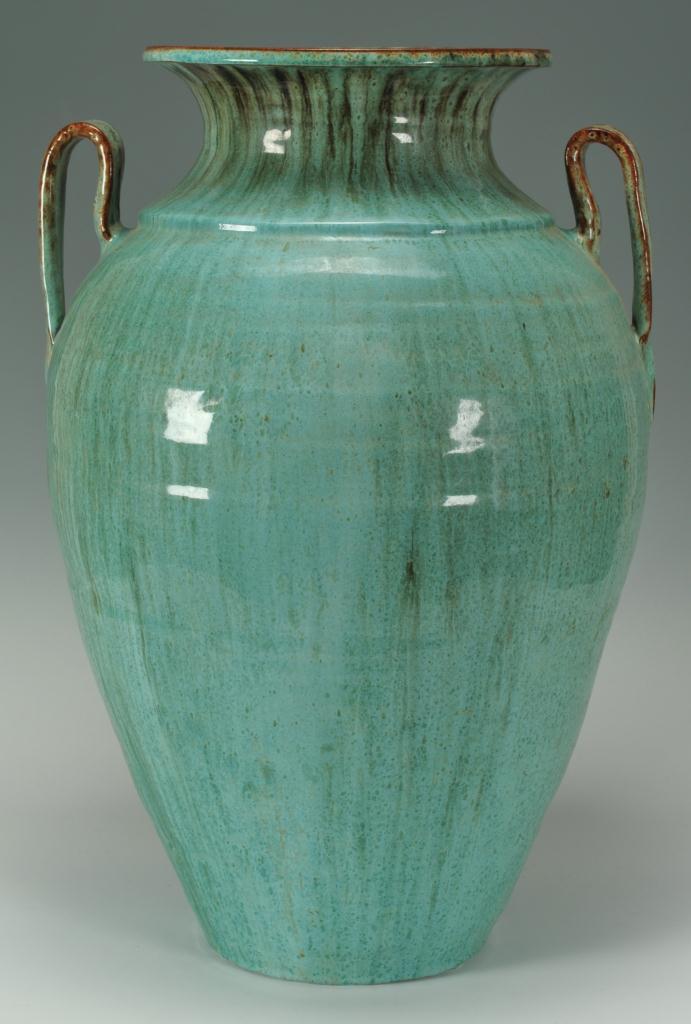 Lot 246: Large Pr. of Chinese Glaze NC Pottery Urns
