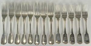 Lot 254: 13 American Coin Silver Forks Marquand, Wilson