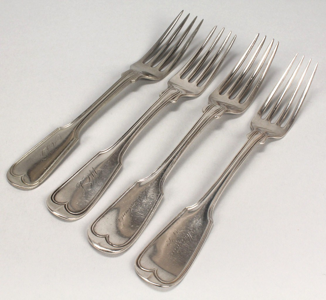 Lot 255: Nine coin silver forks, French Thread pattern