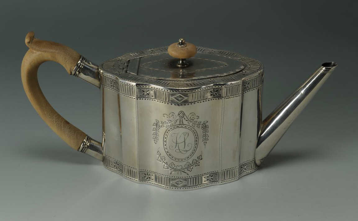 Lot 256: 2 19th c English Teapots, Sheffield & Sterling