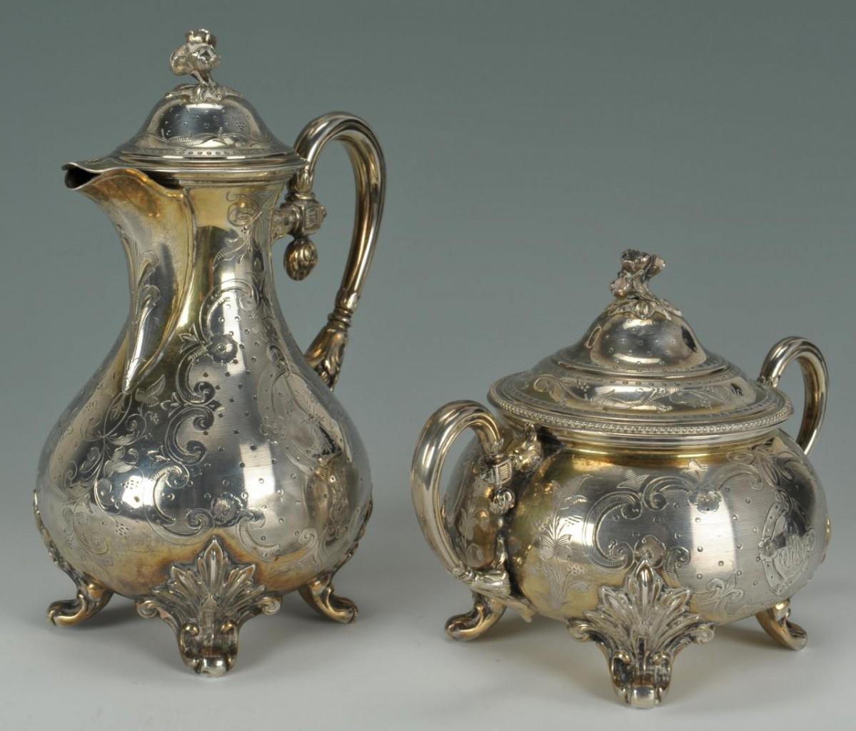 Lot 258: 3 Piece Continental Silver Tea Service