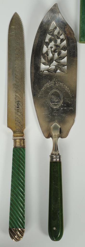 Lot 261: Dyed Green Ivory or Bone Flatware, 48 pcs