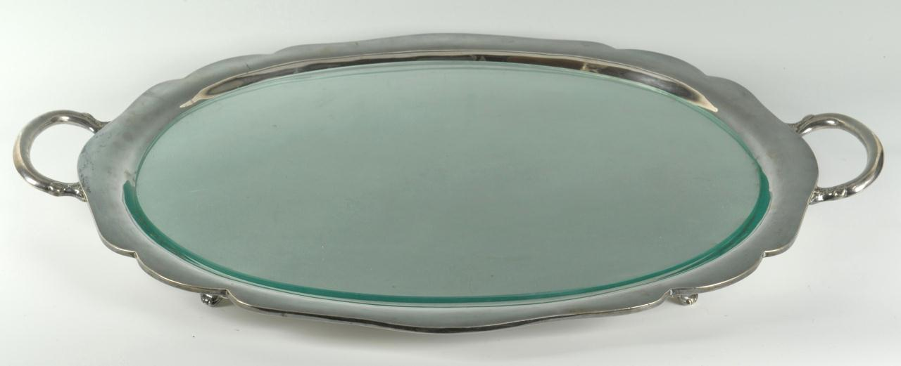 Lot 262: Mexican Sterling Silver Serving Tray, 93 oz.