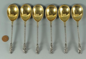 Lot 267: Set of six 19th c. Gorham silver Apostle Spoons