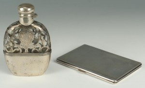 Lot 269: Sterling cigarette case and silver overlay flask