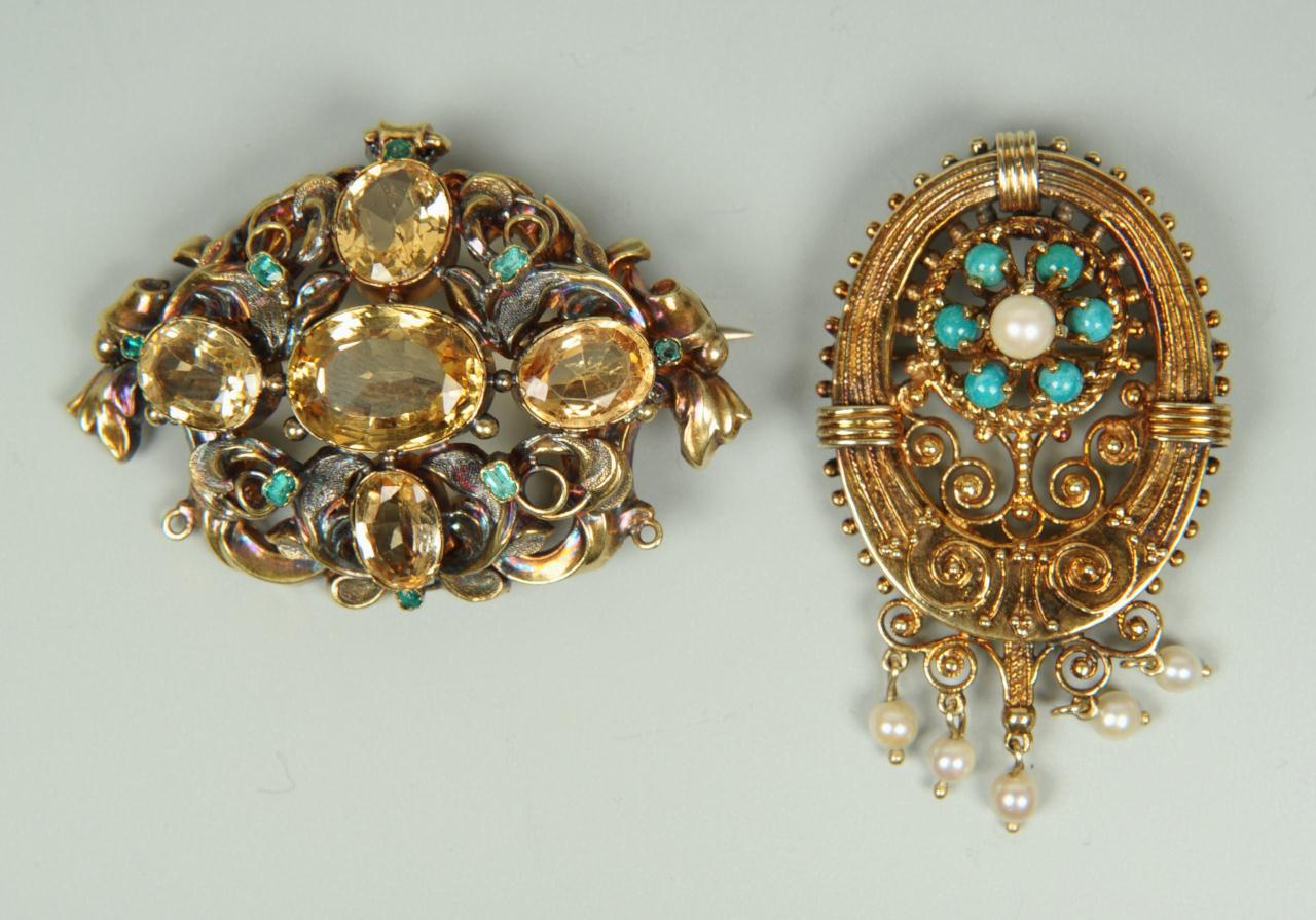 Lot 275: Two 14K Victorian Brooches