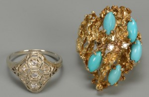 Lot 276: 14K Persian Turquoise Nugget Ring & 10K ring