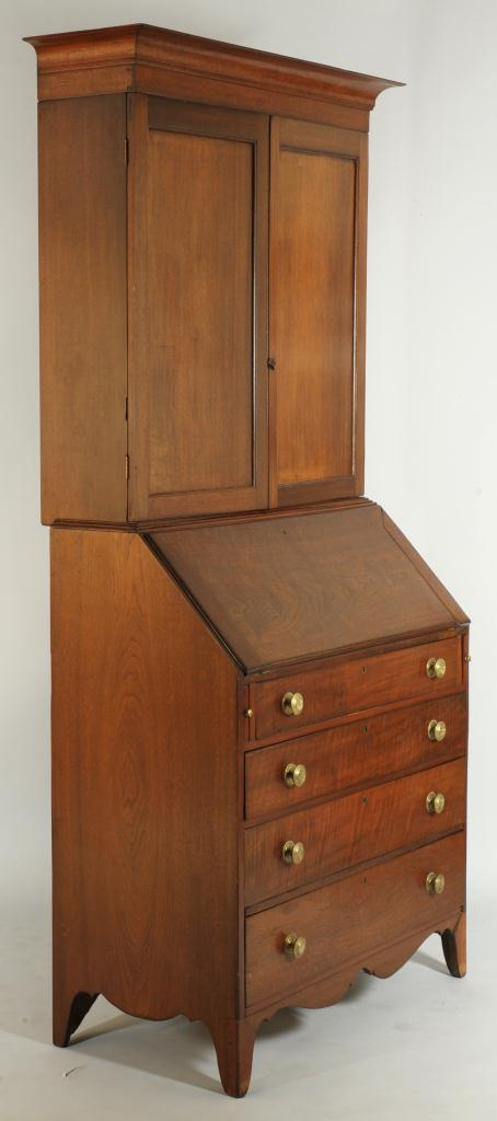 Lot 283: Federal Walnut Tennessee Desk and Bookcase
