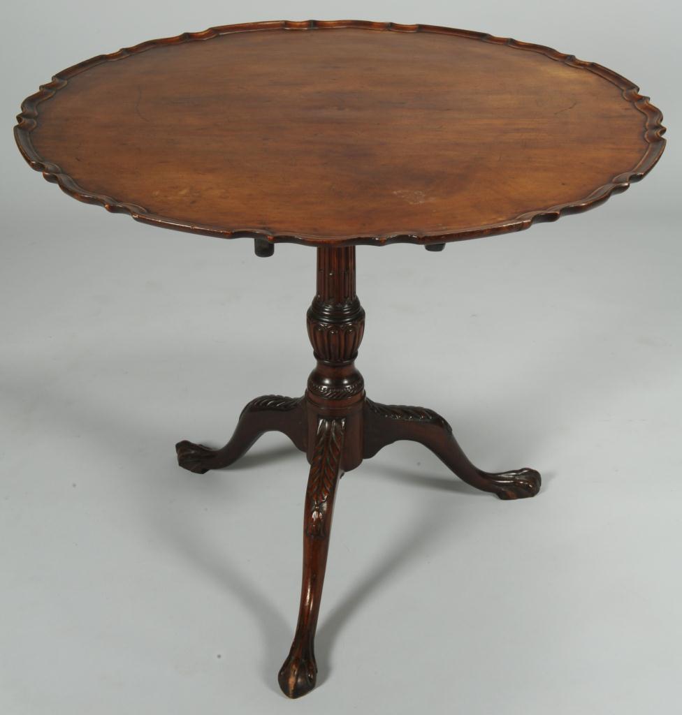 Lot 293: English Chippendale Mahogany Pie Crust Tea Table