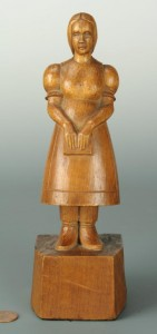 Lot 300: WPA style wood carving of a girl, 1934