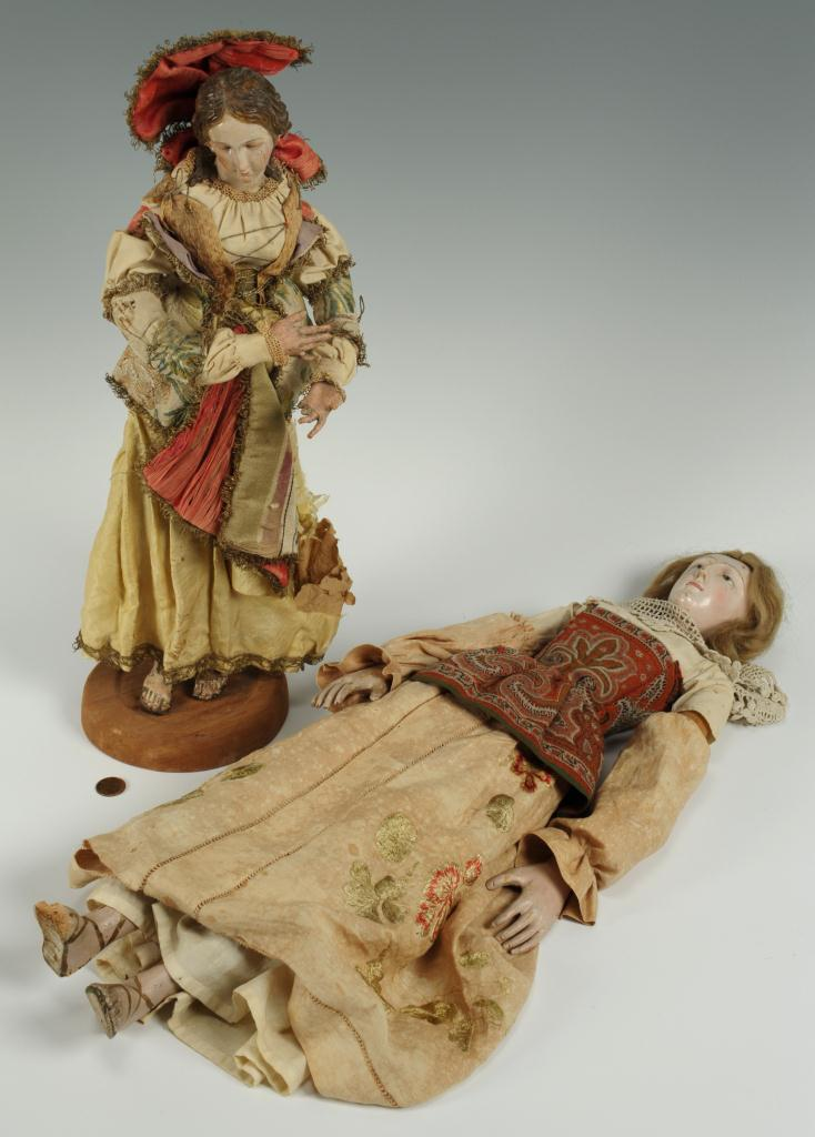 Lot 302: Two 19thc. carved religious figure santos dolls