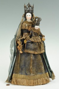 Lot 303: Porcelain Santos dolls, Madonna & Child, with crow