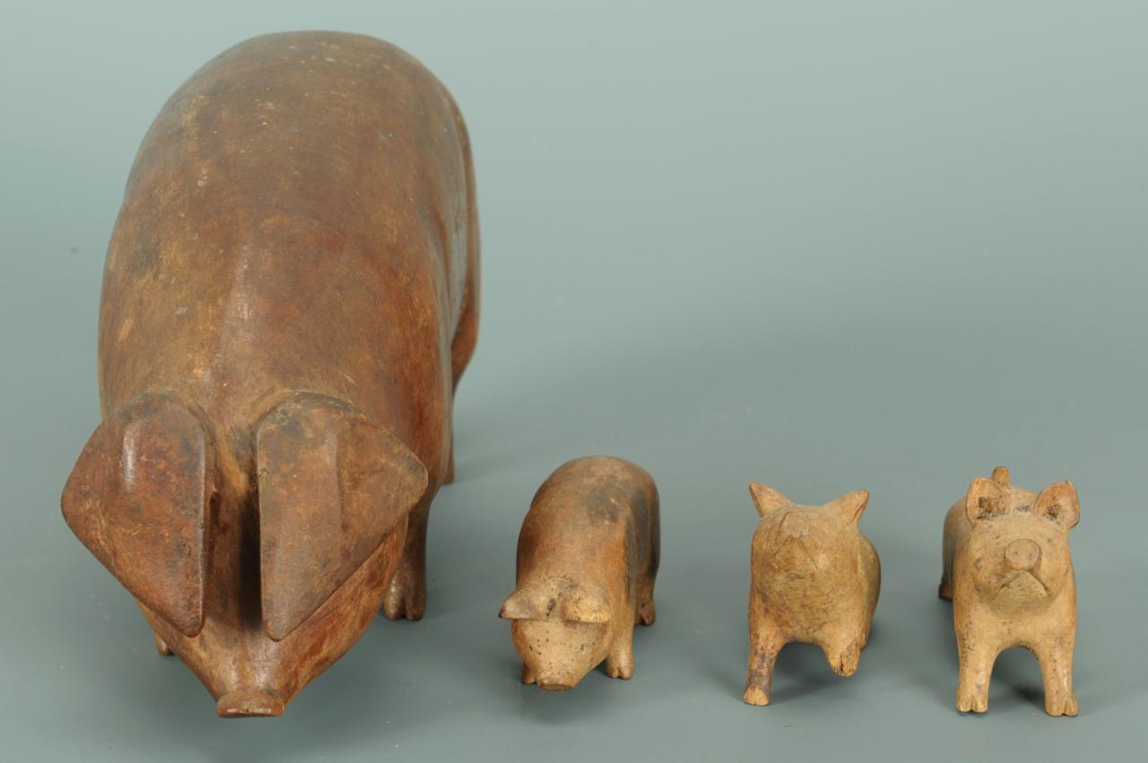 Lot 304: East TN Folk Art Wood Carving of a Sow and Piglets
