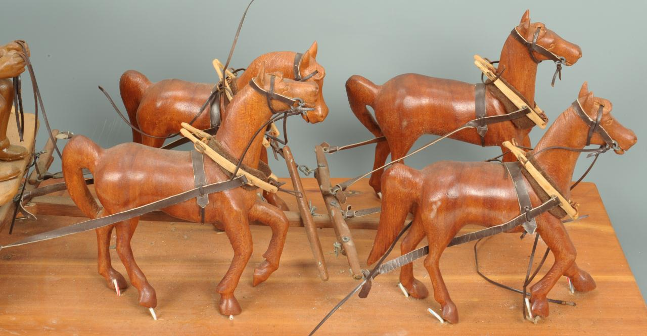 Lot 305: East TN Carved Wooden Folk Art Stagecoach w/ Horse