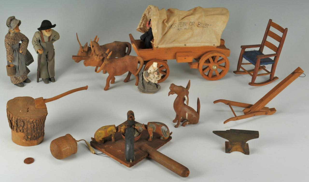 Lot 307: Southern Carved Wooden Folk Art Items, 11 pcs.