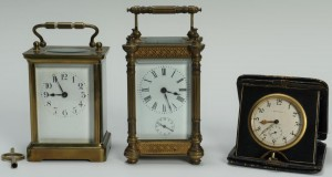Lot 308: 2 Carriage Clocks and 1 Tiffany Travel Clock