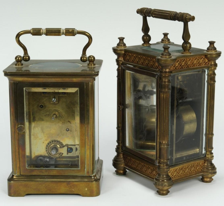 Lot 308: 2 Carriage Clocks and 1 Tiffany Travel Clock