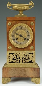 Lot 310: French Empire Mahogany and Ormolu Clock