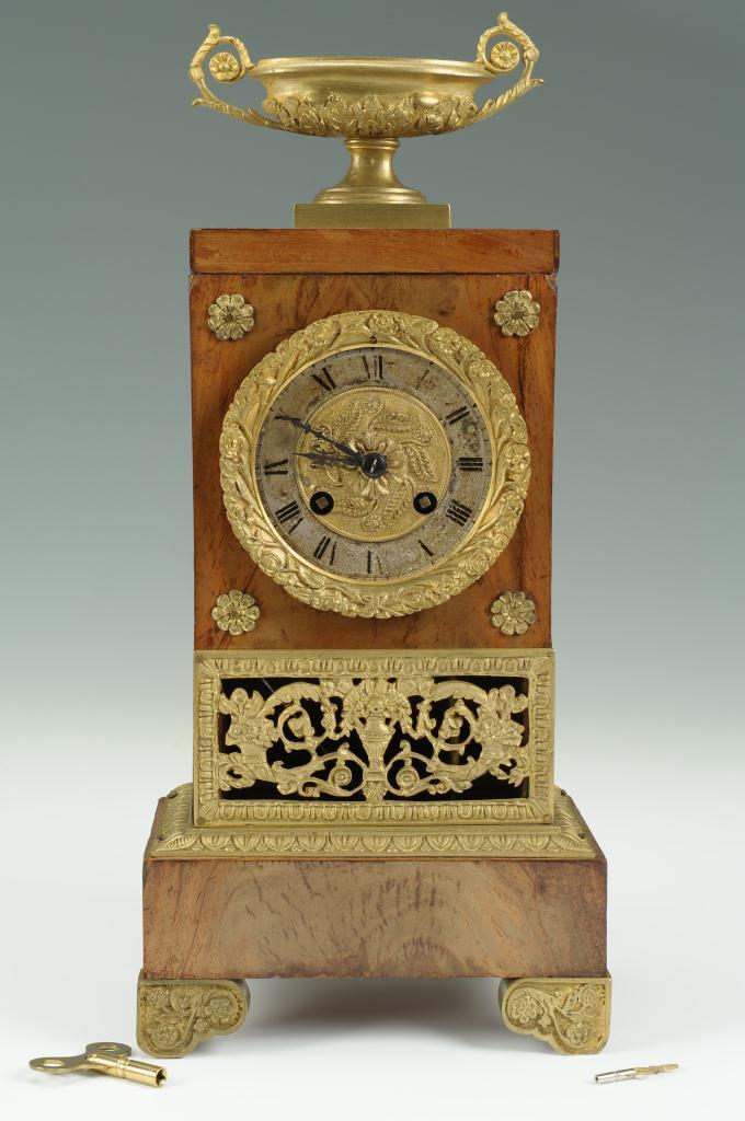 Lot 310: French Empire Mahogany and Ormolu Clock