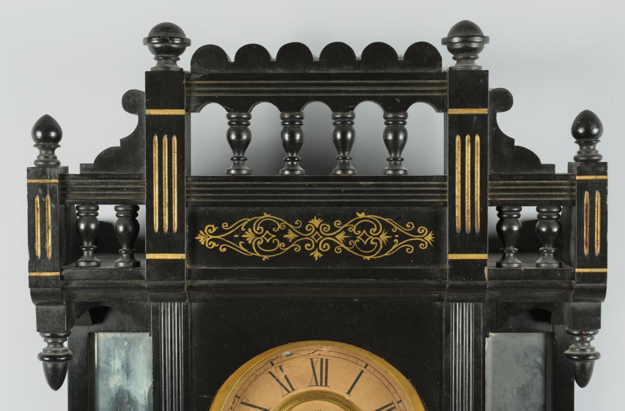 Lot 312: Ansonia Reflector Wall Clock in Ebonized Case