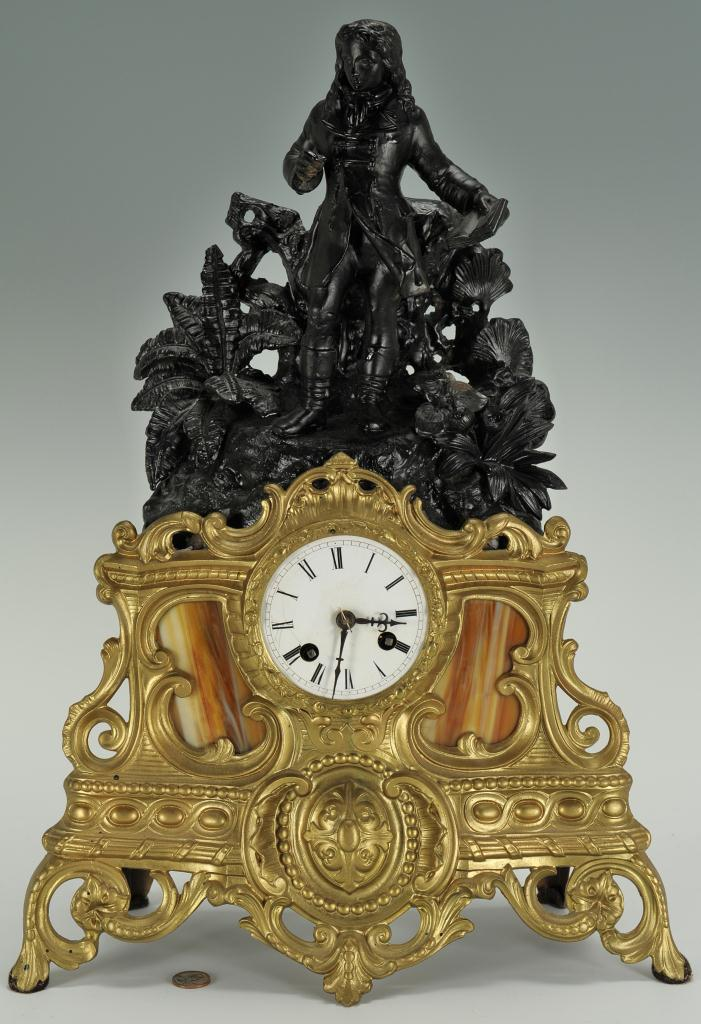 Lot 313: Louis XV style figural clock, man with book