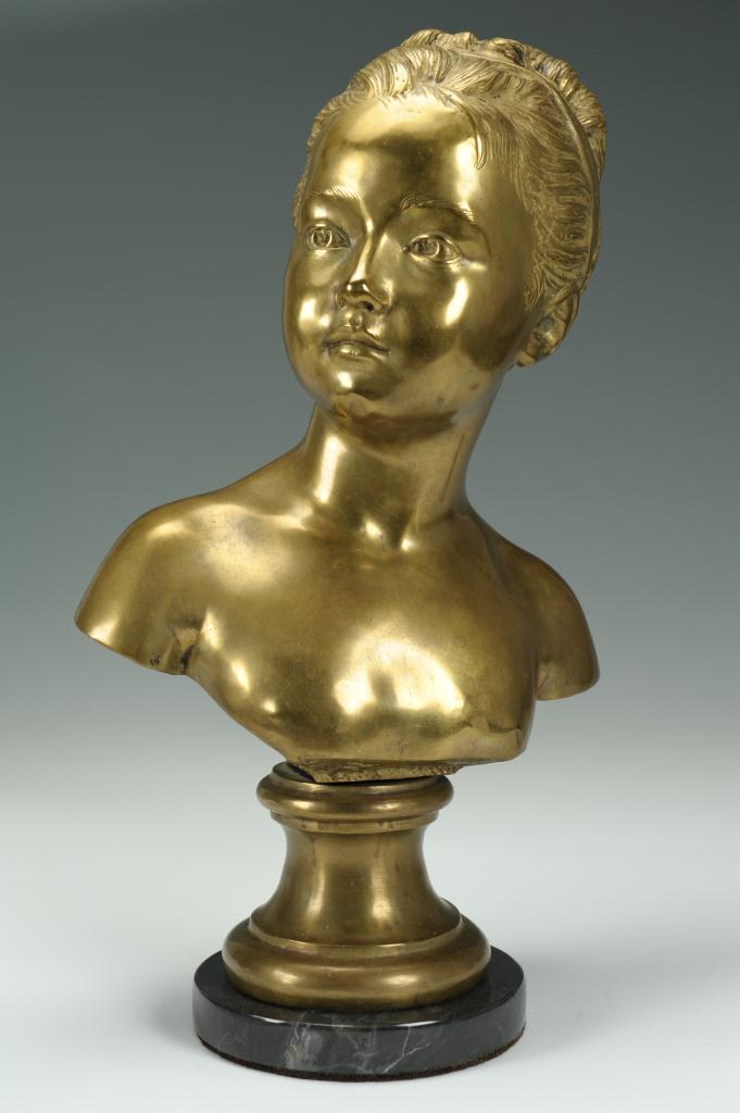 Lot 314: After Houdon, Bronze Bust of Young Girl