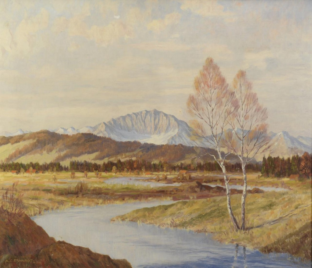 Lot 316: A. C. Erhardt oil on canvas landscape with river
