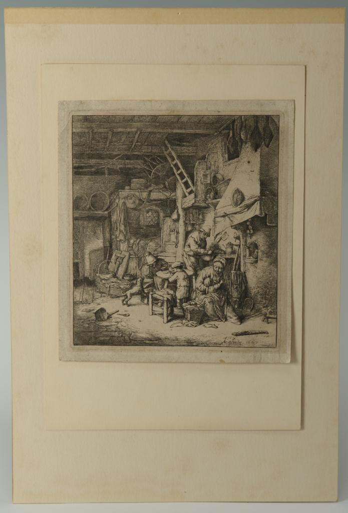 Lot 318: Adriaen Van Ostade etching, The Family, 1647