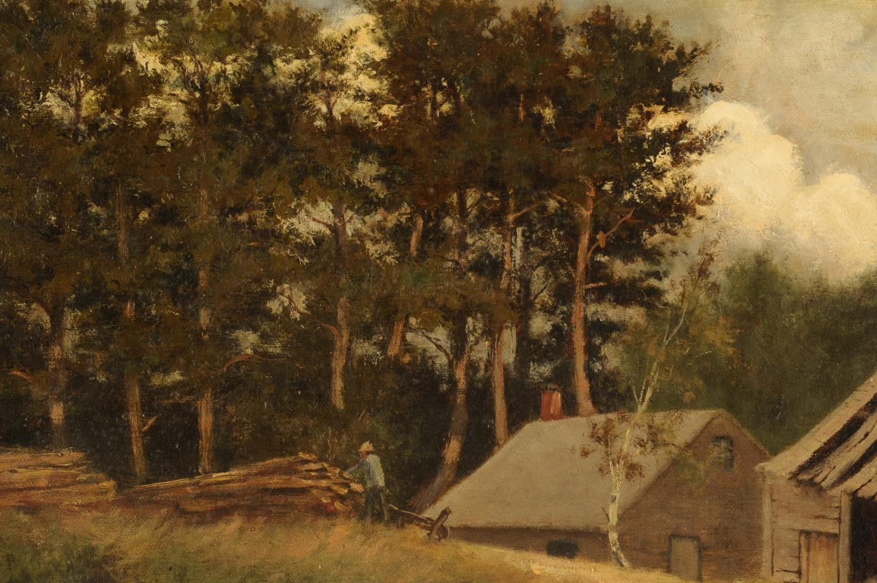 Lot 325: George Giddens oil on canvas, Cabin Scene