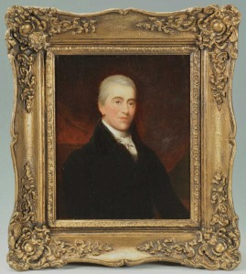 Lot 326: Small Portrait of a man, oil on board, 19th centur