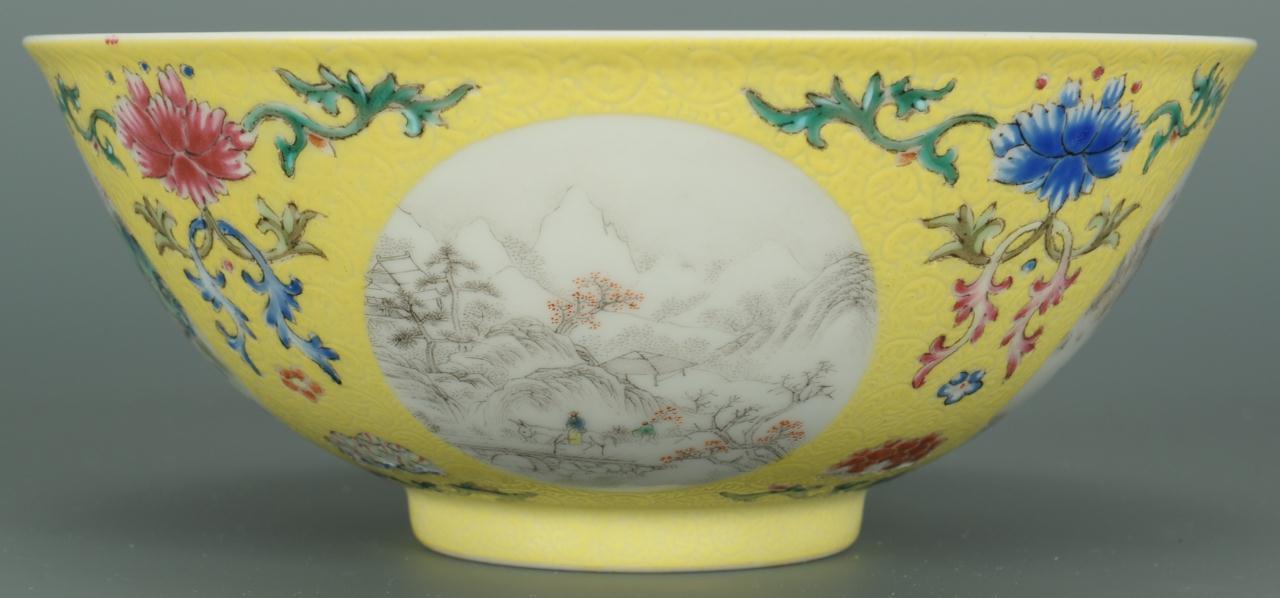 Lot 32: Chinese Famille Rose Bowl, season vignettes