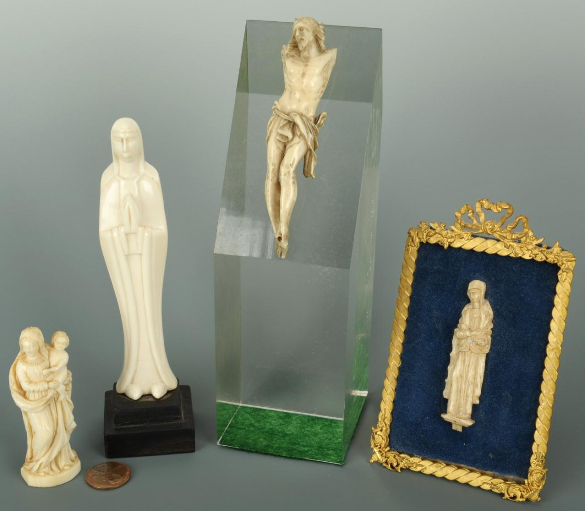 Lot 331: 4 Religious Carved Figures, 3 ivory & 1 bone