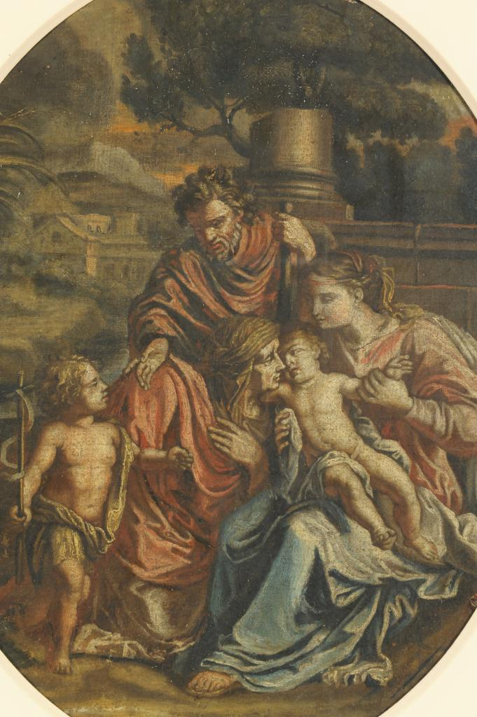 Lot 334: European School painting, Holy Family, 17th c.