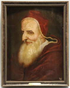 Lot 336: Italian School oil on panel, Pope Pius V, 17th c.