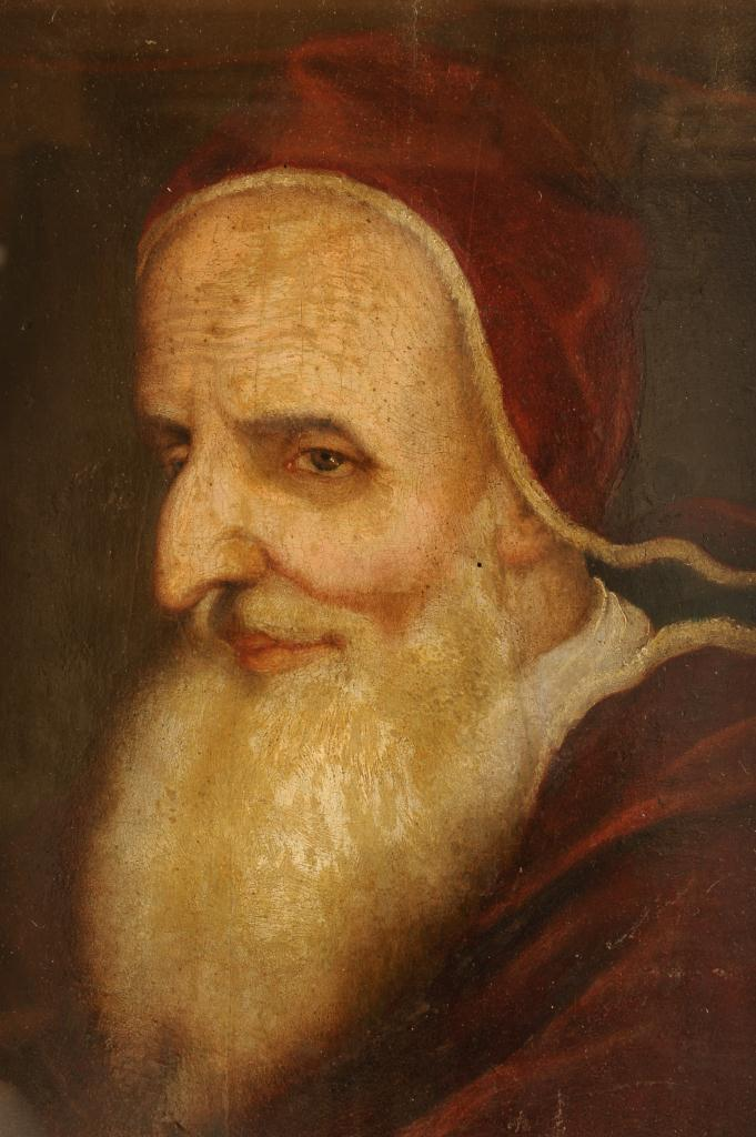 Lot 336: Italian School oil on panel, Pope Pius V, 17th c.