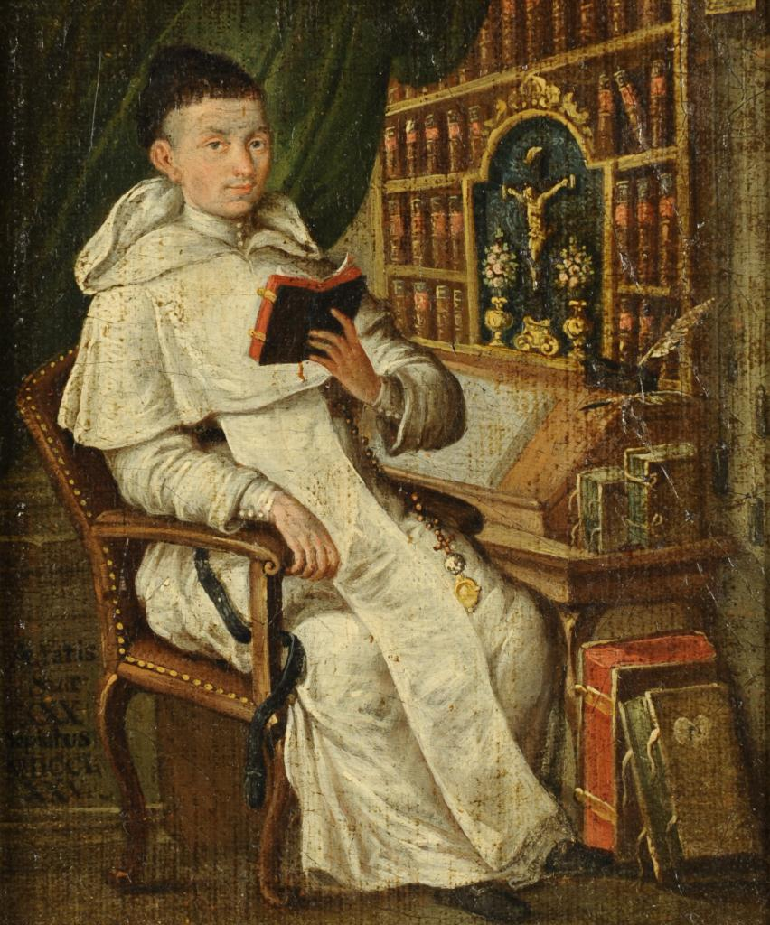 Lot 337: Continental oil on panel, Young Cleric, 18th c.