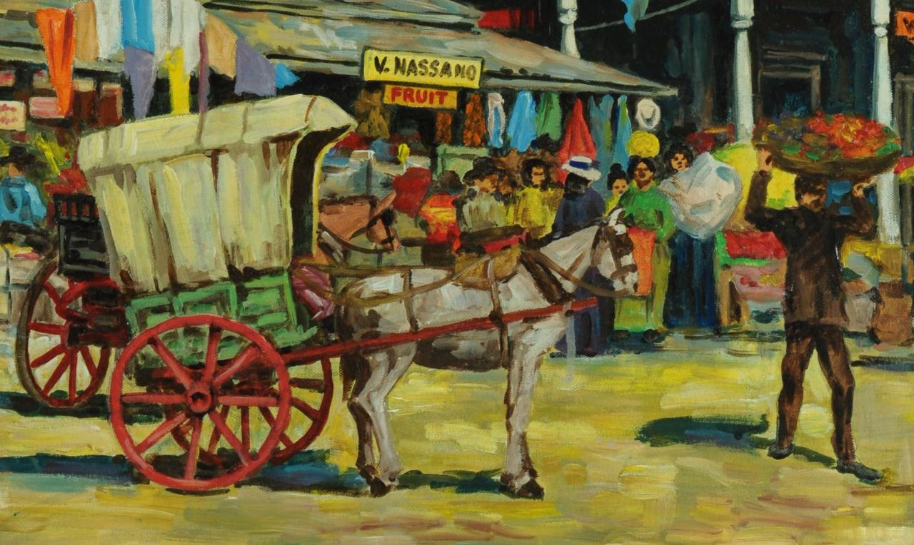 Lot 339: Larry Harris o/c, New Orleans French Market
