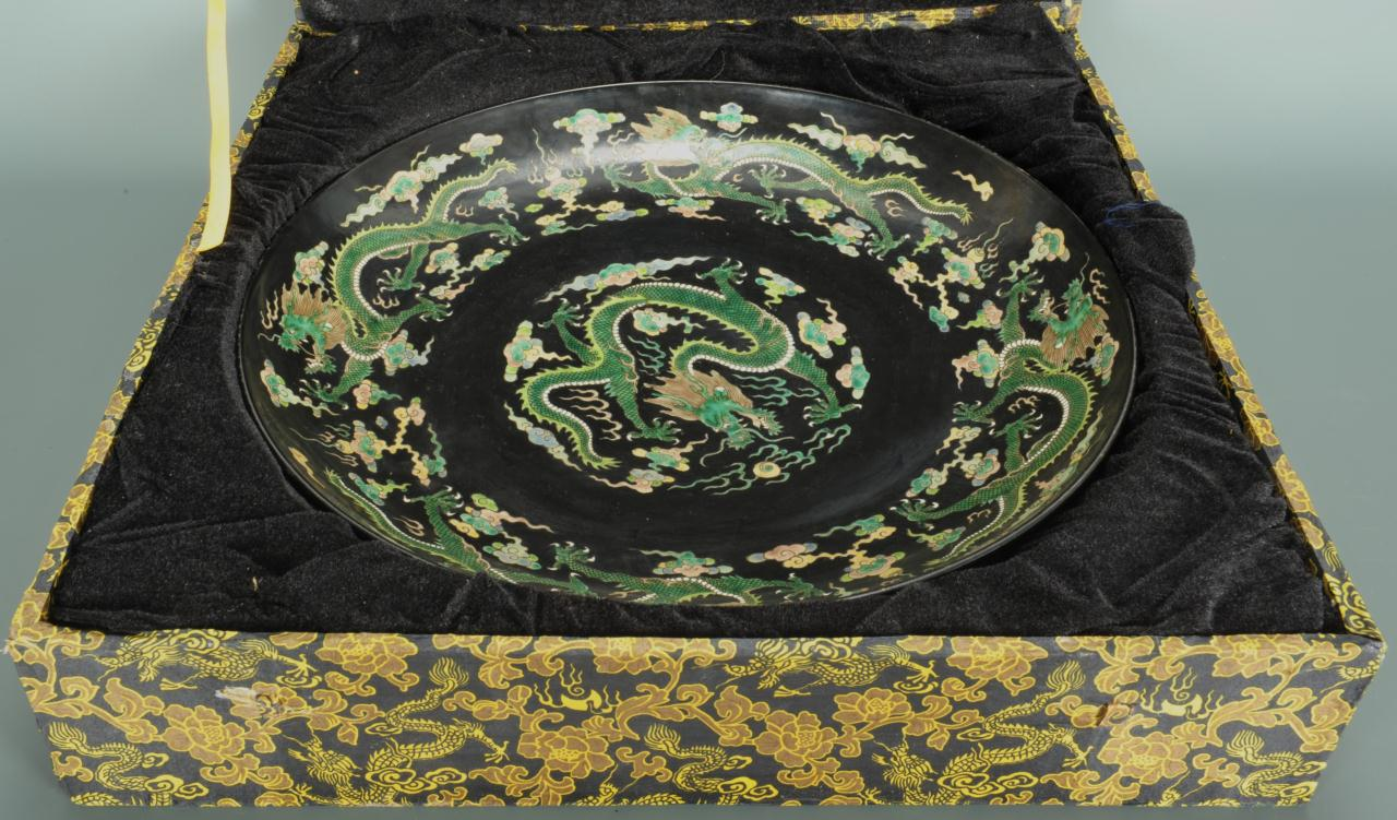 Lot 33: Chinese Famille Noir Dragon Charger
