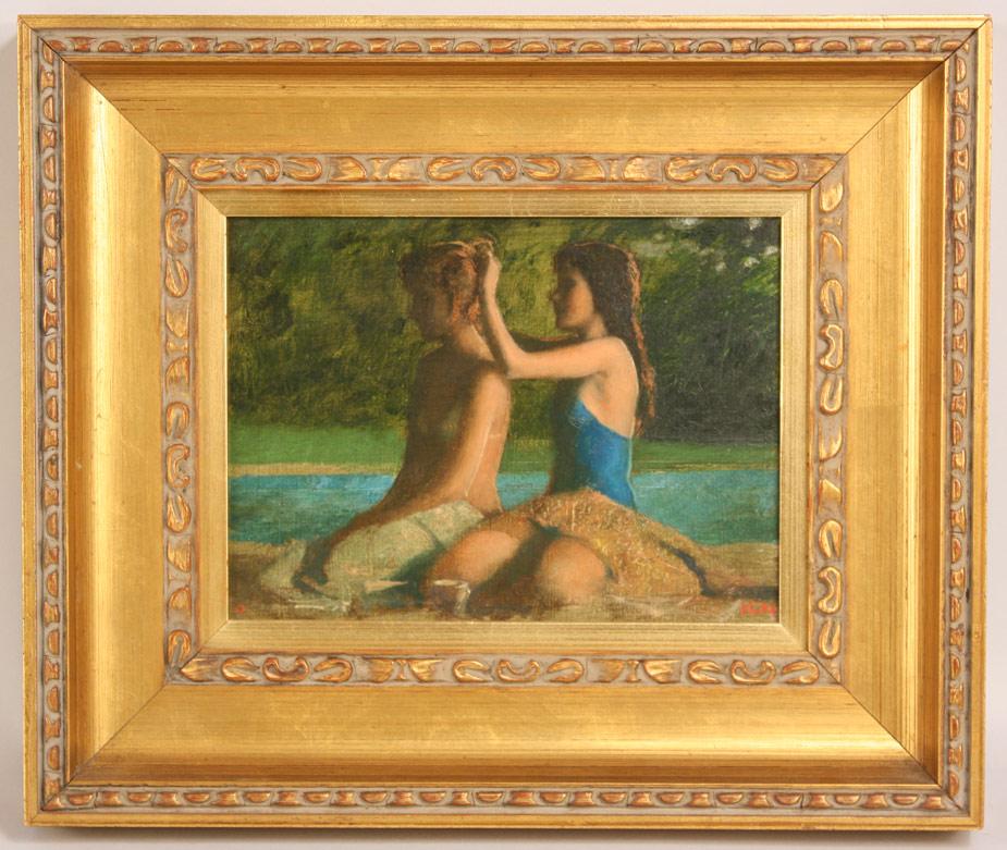 Lot 340: Bo Bartlett, Oil on Board, Girls by a Pool