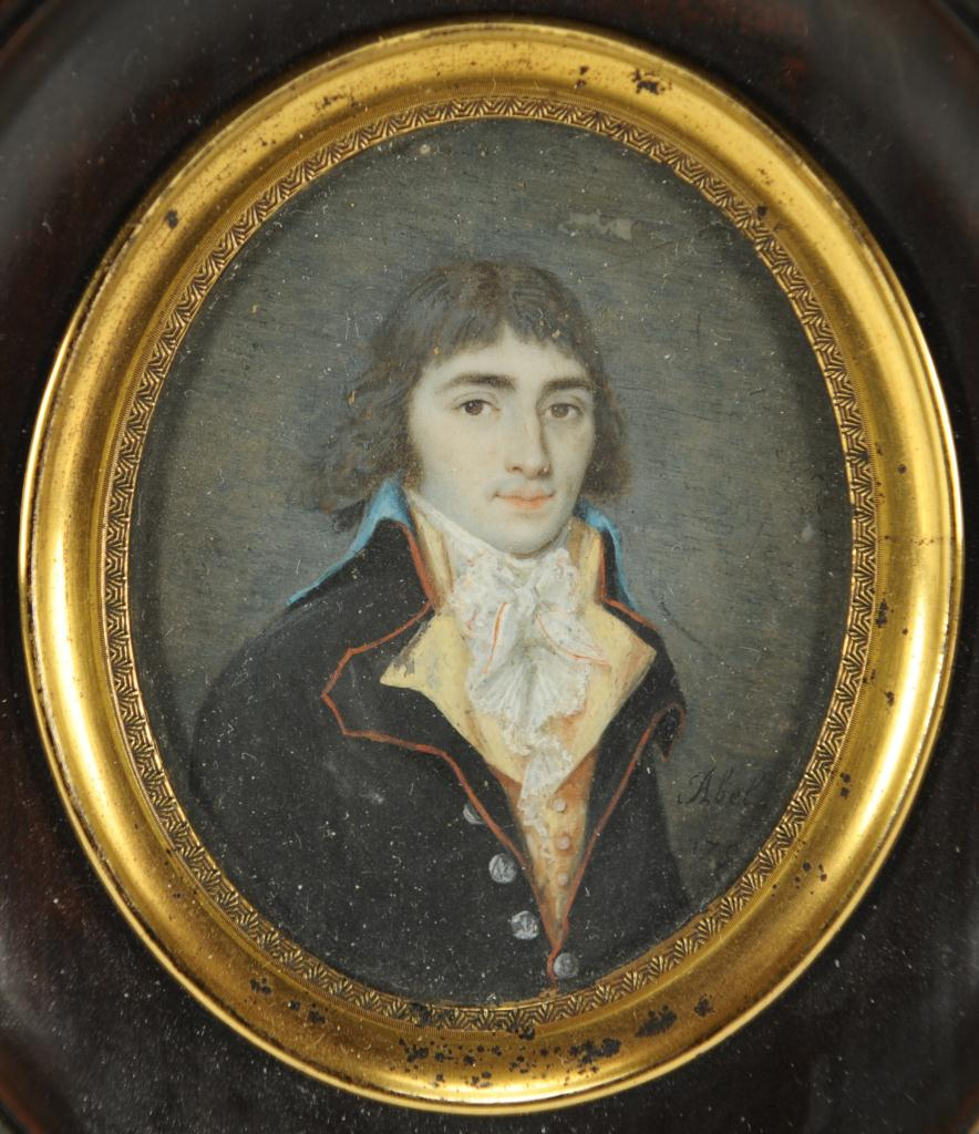Lot 34: Portrait miniature of a gentleman, signed Abel