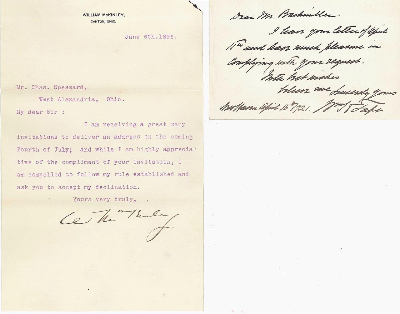 Lot 354: 2 Presidential Sgd Documents, Taft and McKinley