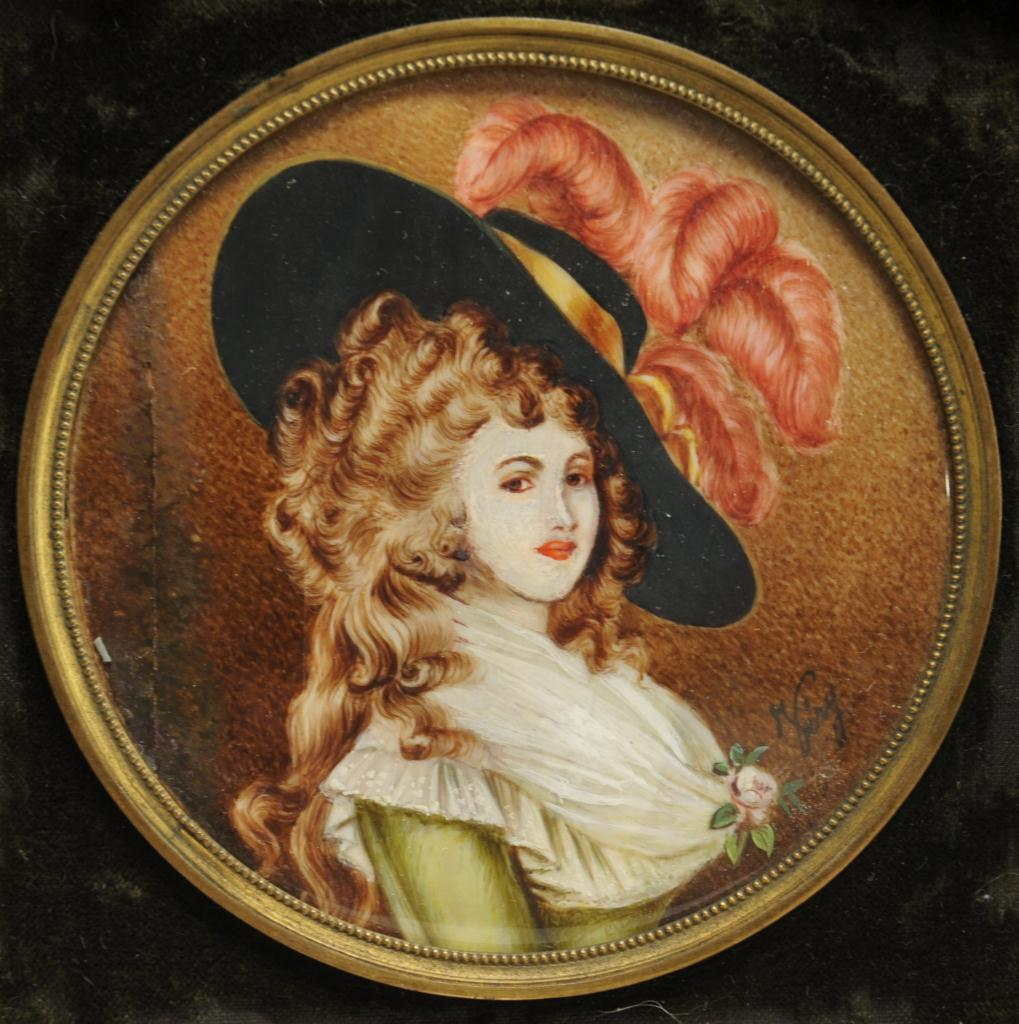 Lot 35: Four miniature portraits of ladies