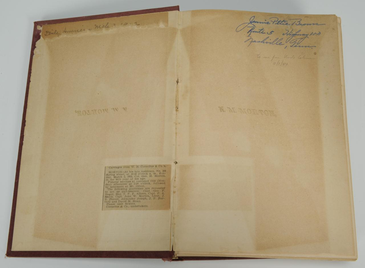 Lot 360: Hancock's Diary: Second TN Confederate Calvary
