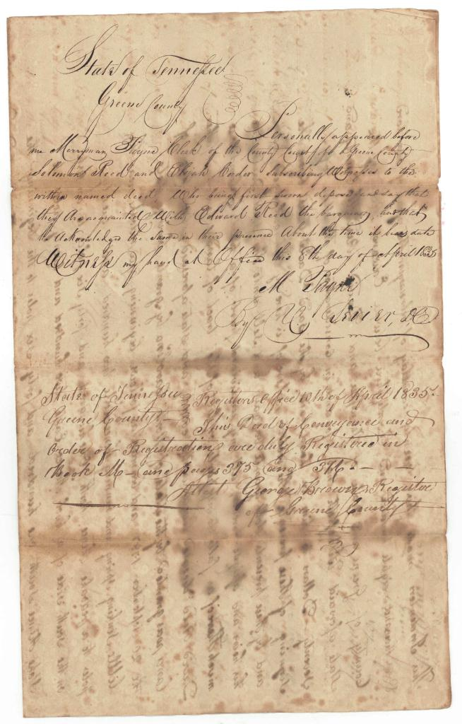 Lot 367: Collection of Early East TN Deeds and Documents