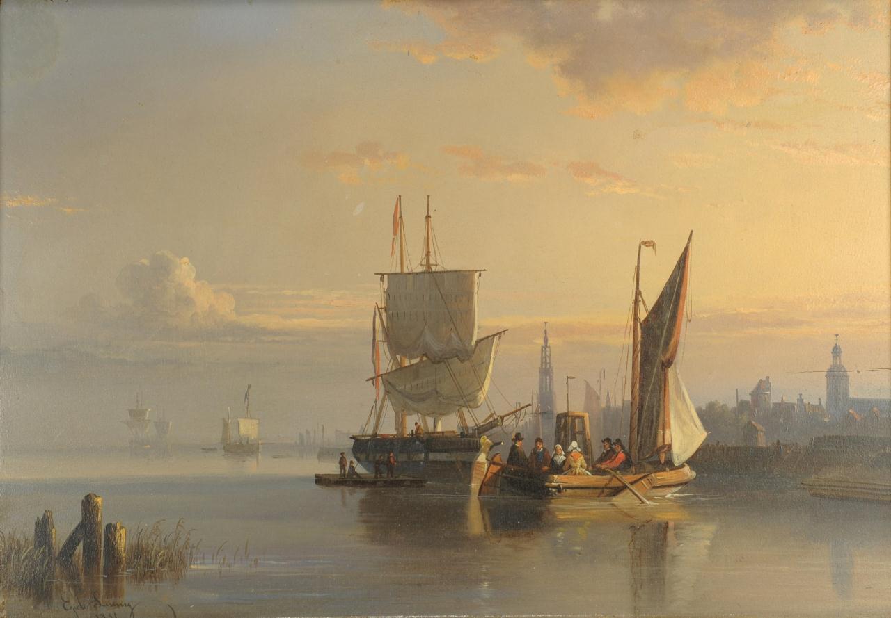Lot 36: Egidius Linnig Nautical Oil on Board