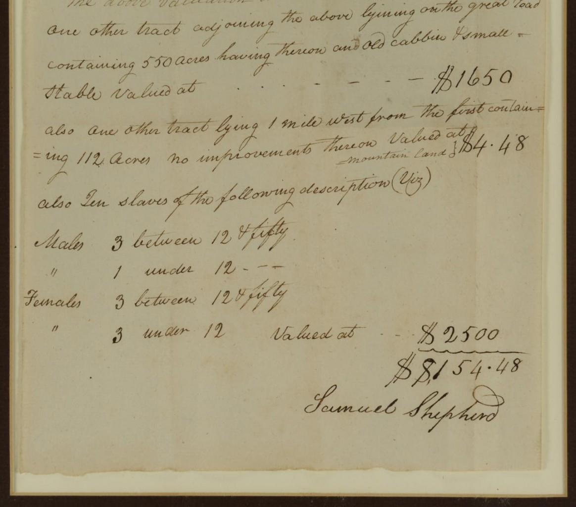 Lot 371: Framed 1815 Listing Wythe Co., VA Slave Property