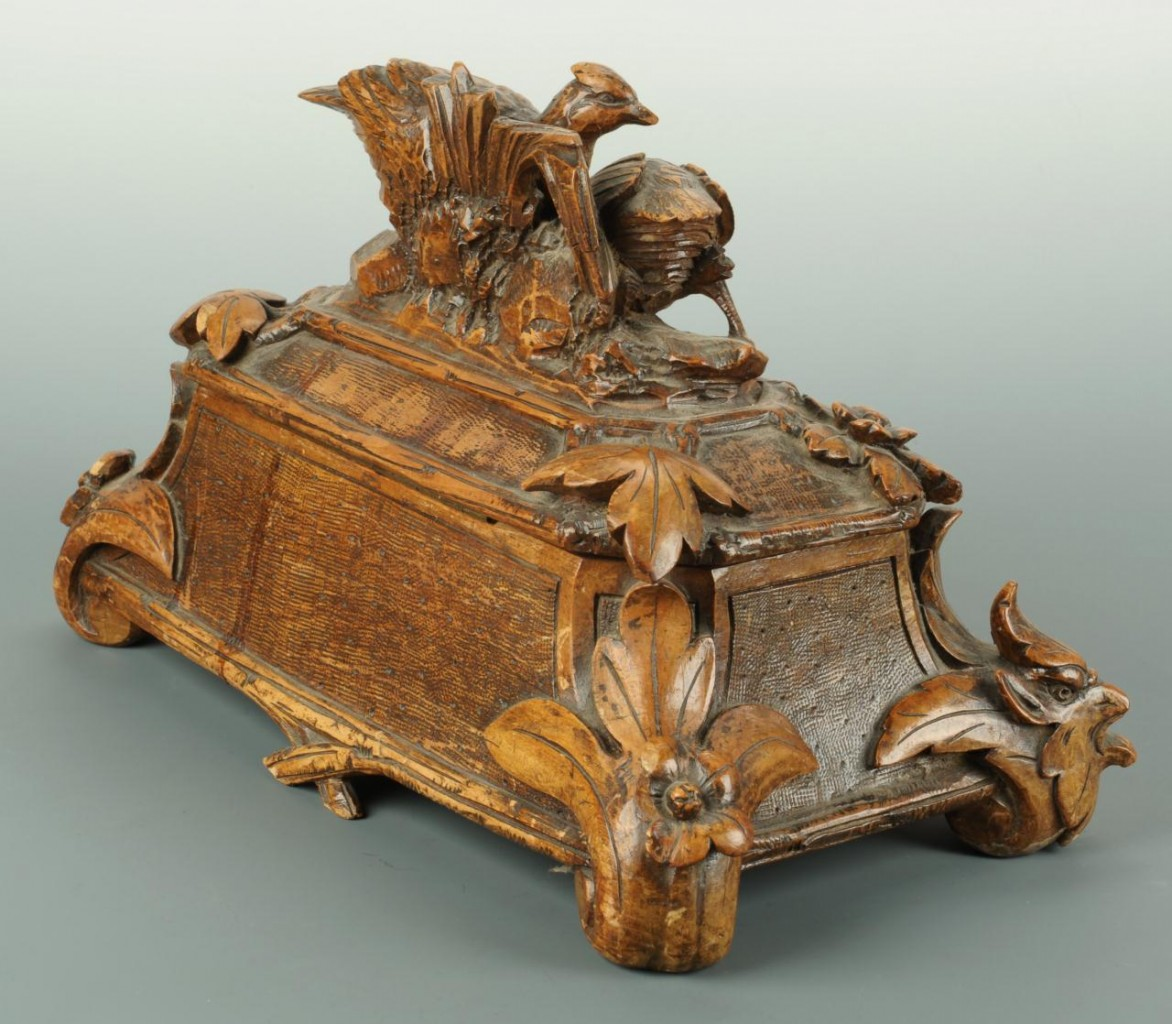 Lot 373: Black Forest box with carved figural birds