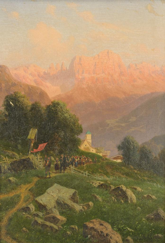 Lot 37: Josef Von Schlogl Landscape Oil on Board