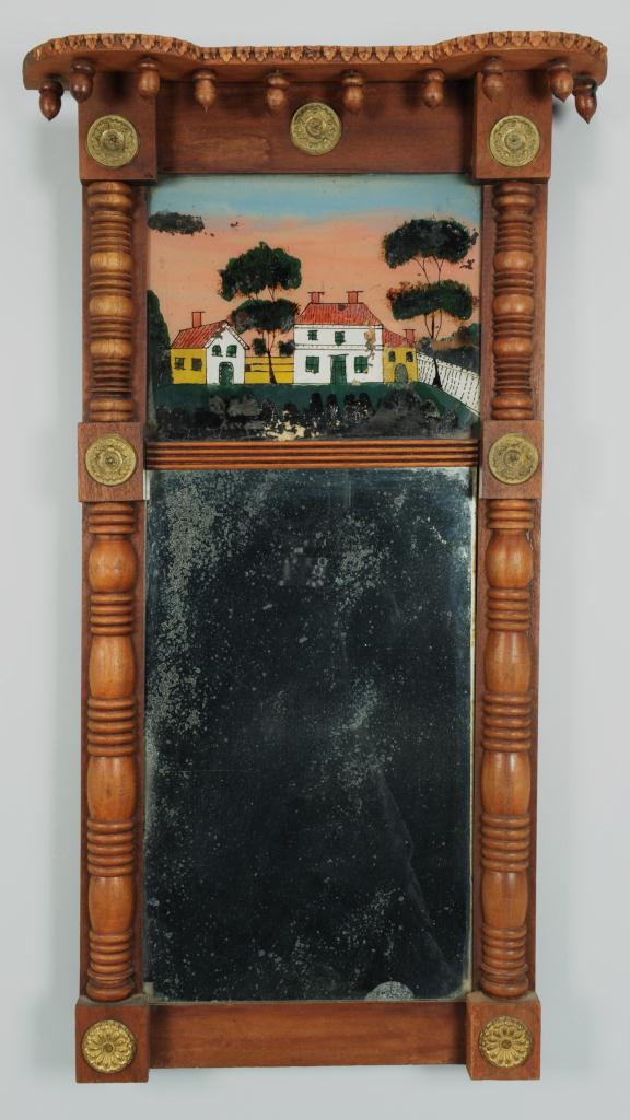 Lot 380: Carved Walnut Classical Mirror with Acorn Drops